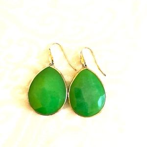 Stella and Dot green and gold earrings